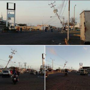 La madrugada de hoy jueves, un poste de luz con tres transformadores ubicado en la avenida Ollarvides de la Puerta Maraven,