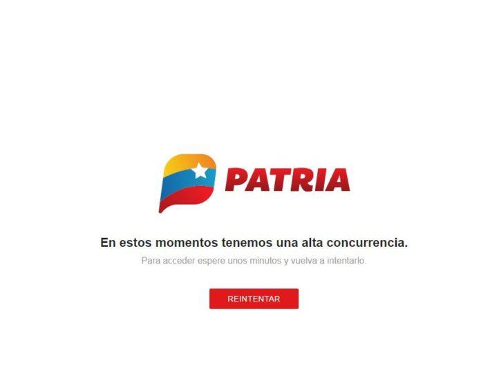 Reportan caída de la plataforma Patria