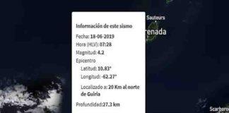 Se registró un sismo de 4.2 de magnitud en Güiria, estado Sucre