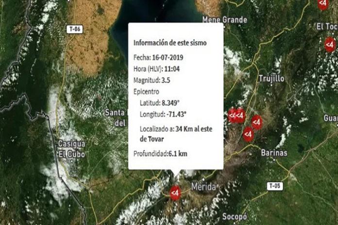 Se registró un sismo de 3.5 de magnitud al este de Tovar, Mérida