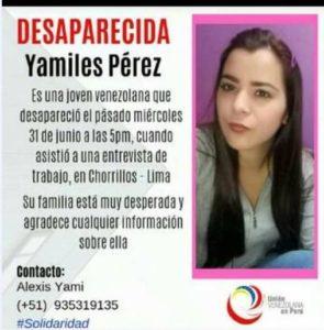 Familiares reportan desaparición de joven venezolana en Perú