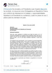 Comunicado| Tamara Suju renuncia como embajadora de Guaidó en República Checa