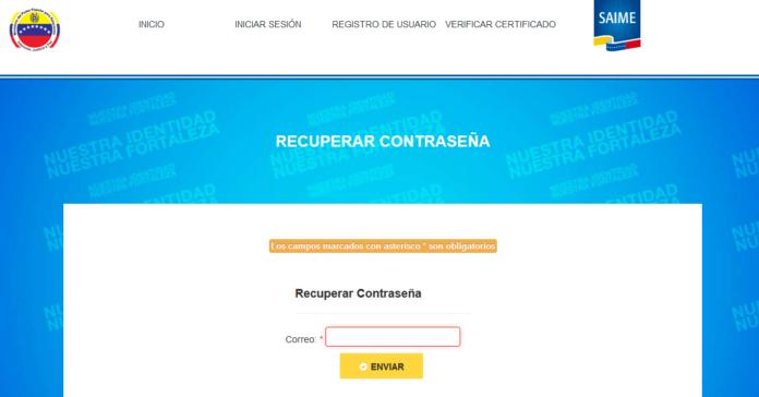 """Saime activa opción """"recuperación de usuarios"""" en su portal web"""