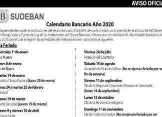 Este es el calendario de días no bancarios para el año 2020