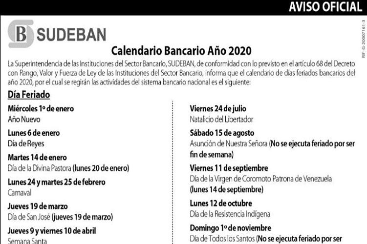 Ano 2020 Calendario.Cactus24 Este Es El Calendario De Dias No Bancarios Para