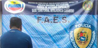 Faes capturó a sujeto investigado por venta de armas y municiones