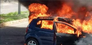 Luego de un choque múltiple se incendia un vehículo en San Cristóbal