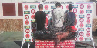 Detienen a tres sujetos en flagrancia con 85 kilo de material estratégico en Almirante Padilla