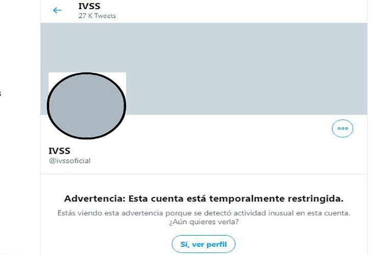 "Twitter ""restringe"" cuenta oficial del IVSS"