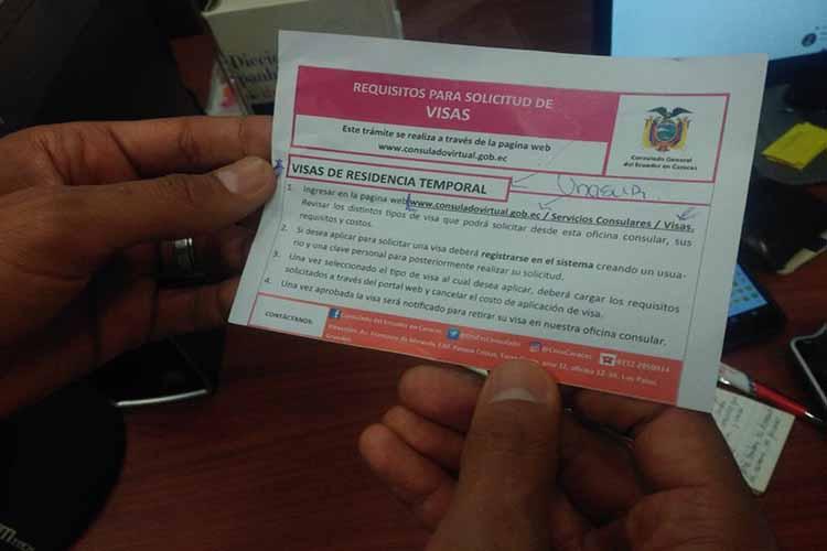 Conozca detalles sobre la obtención de visa humanitaria en Ecuador