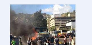 Mujer muere carbonizada tras choque de convoy de la GNB en Caracas