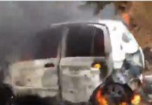 Vehículo arde en llamas en la Panamericana (+Video)