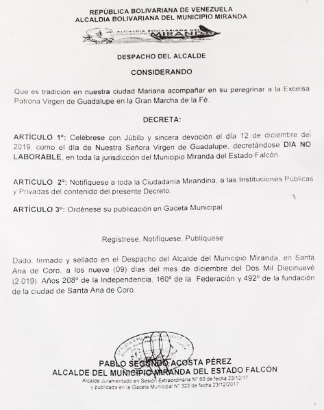 Decretan el 12 de diciembre no laborable en Coro (+Decreto)