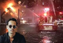 Se incendió el yate de Marc Anthony en Miami (+Video)