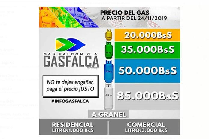 Gasfalca mantendrá los precios de los cilindros de gas (+Petro)