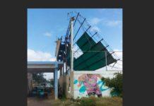 FOTOS| Peligro inminente, estructura de la cancha de El Cardón podría destruir vivienda