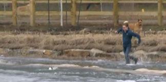 Salta a un estanque helado para rescatar a su perro
