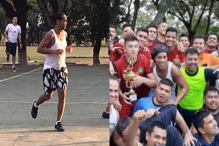 Ronaldinho juega un partido en la cárcel de Paragua