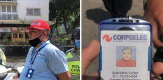 Adalberto Núñez fue detenido por funcionarios de la Policía Municipal de Chacao momentos cuando se hacía pasar como trabajador de Corpoelec.